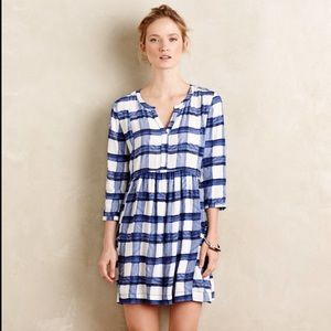 Anthro, Blue White Checkered Sapphire Dress 707